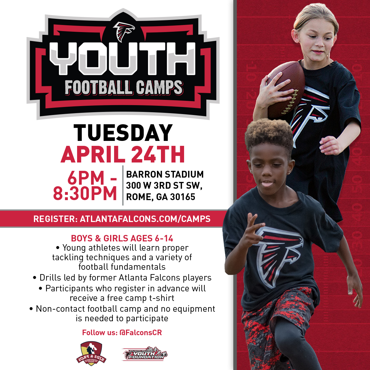 104.9 The Rebel Falcons youth football camp coming April 24